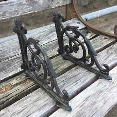 A Pair Antique Style Black Cast Iron Brackets Garden Braces Rustic Shelf Bracket