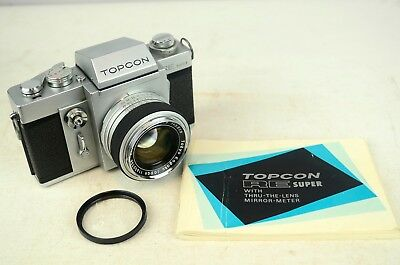 VINTAGE TOPCON RE SUPER 35mm FILM SLR CAMERA with RE-AUTO-TOPCOR 58mm F/1.8 LENS