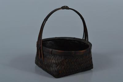 R7112: Japanese Bamboo Wickerwork/Ajiro-shaped CHARCOAL BASKET/Sumitorikago