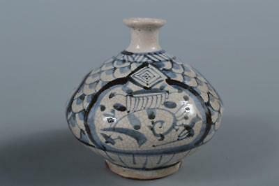 R6402: Japanese Old Seto-ware Treasure pattern Shapely FLOWER VASE Ikebana