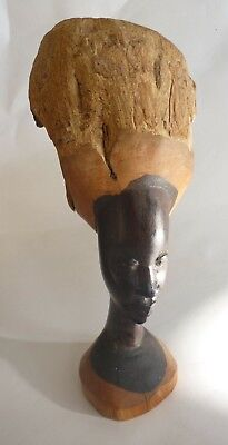African Wood Carved Face Head Bark Branch Statue Small Nature Earth