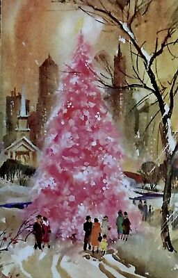 Cosmo City Skyscrapers MCM Towns-People Giant Pink Tree Vtg XMAS Card 60s UNUSED