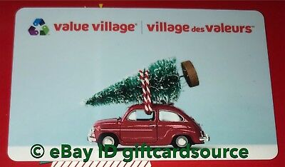"Value Village Gift Card ""christmas Tree On Car"" Holiday 2018 No Value New"