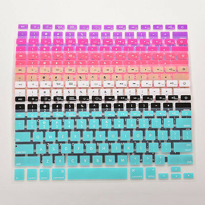 "Rainbow Keyboard Skin Cover For Macbook Air Mac 13""15""17"" Silicone"