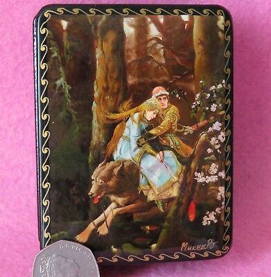 GICLEE LACQUER Box Russian Vasnetsov Ivan Tsarevich Riding Grey Wolf Fire Bird