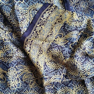 Long silk satin scarf with hand rolled hem - navy and gold - 55cm x 180cm