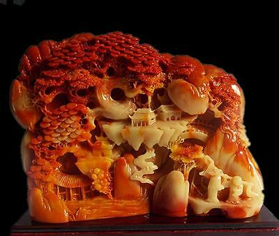 Chinese ShouShan Stone Hand-Carved landscape people Statue A1