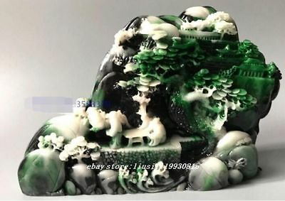 Chinese ShouShan Stone Hand-Carved Scenery people Statue A78