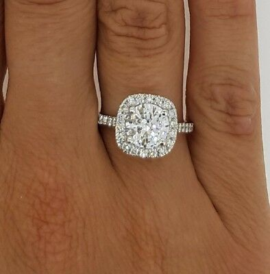 Genuine 2 50 Ct Si1 D Cushion Halo Round Cut Diamond Engagement Ring