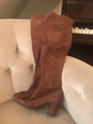 Vintage Biba Original 60s Brown Suede Over Knee Boots