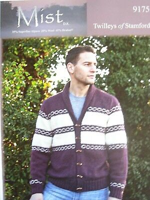 TWILLEYS 9175 - MENS DK FAIRISLE JACKET WITH COLLAR KNITTING PATTERN 36/46in