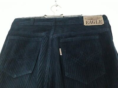 Vintage Retro Dark Blue Navy Corduroy Trousers W31 L34