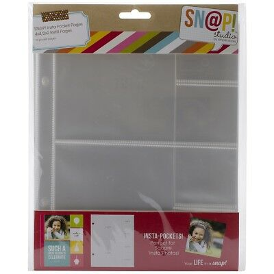 "Sn@p! Insta Pocket Pages For 6""x8"" Binders 10/pkg-(2) 4""x4"" & (4) 2""x2"" Pockets"