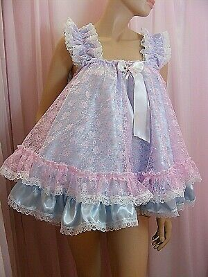 ADULT baby sissy satin lace baby doll negligee nightie dress fancydress cosplay