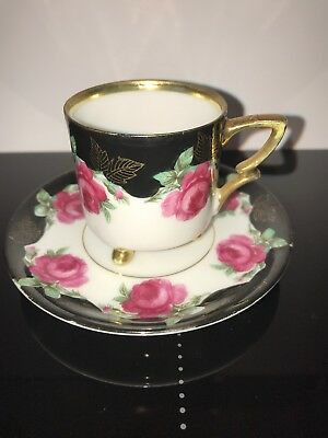 Antique German Demi Tasse Three-Footed Cup And Saucer c1890 Black Gold Pink Rose