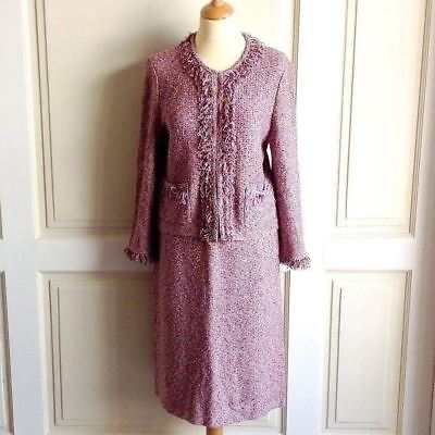 St. John Collection by Marie Gray Purple Fringed Knit Cardigan Size 10 Skirt 16