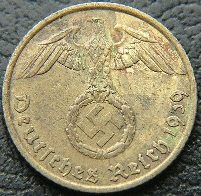 Wwii German 1939 - A 5 Reichspfennig 3Rd Reich Brass Nazi Germany Coin (Wc2239)