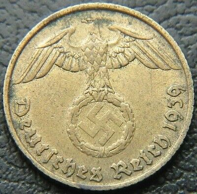 Wwii German 1939 - B 5 Reichspfennig 3Rd Reich Brass Nazi Germany Coin (Wc2237)