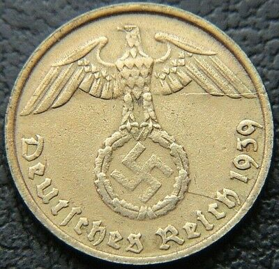 Wwii German 1939 - D 5 Reichspfennig 3Rd Reich Brass Nazi Germany Coin (Wc2123)