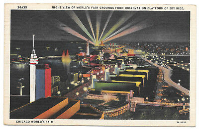 World's Fair Chicago night view observation sky ride vintage postcard N Shure Co