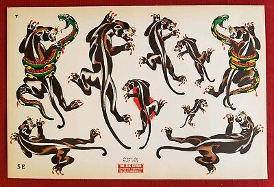 milton zeis original mint panther vintage 50s production tattoo flash 10x15