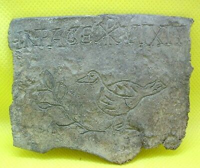 Ancient Roman Lead Tablet With Inscription ''live In Peace''  And Chi-Rho 400 Ad