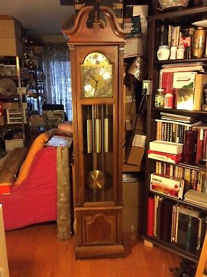 Pearl Weight Driven Westminster Chimes Grandfather Clock, Works Great, 75""