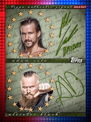 Topps WWE SLAM Aleister Black Adam Cole NXT TakeOver GREEN Dual Signature 22cc