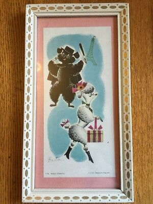"""Vintage Framed Print """"Wolf Whistle"""" 2 Poodle Dogs in Paris Picture, S&W England"""