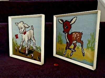 60s/70s NURSERY PICTURES x2, Vintage FRAMED CROSS STITCH, Retro ANIMAL ARTWORK
