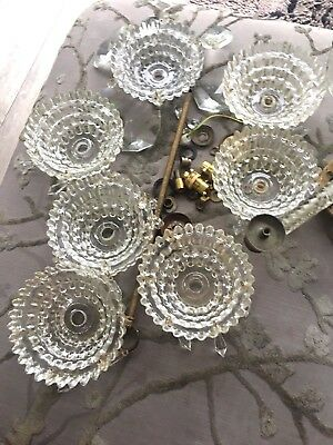 antique crystal chandelier  murano glass arms
