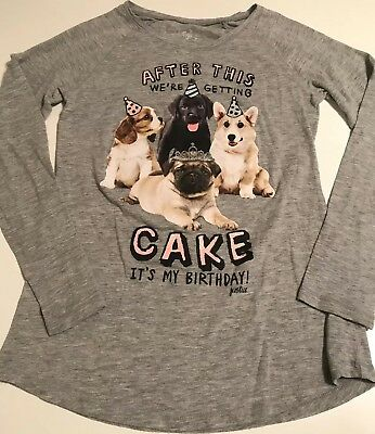 JUSTICE GIRLS GRAY Its My Birthday Shirt Size 12 Dogs