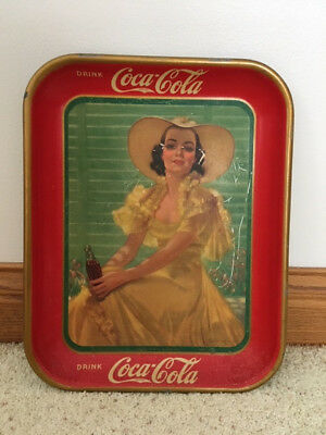 1938 Coca Cola Girl In Yellow Dress Tray