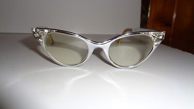 Vintage Metal J. Hasday 4-5 1/2 Cat-Eye Bifocal Glasses With Stones 1950's