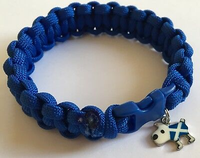 Choice of Scottish Saltire Charm on Blue Paracord Bracelet