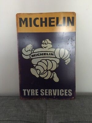 Vintage Metal Advertising Sign  Garage Wall Plaque *michelin Tyre Services*