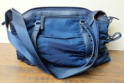Pottery Barn Kids Zip Top  Sydnee Diaper Bag Nylon Ruched  Leather Navy Blue