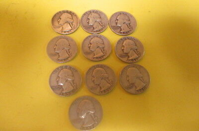 10 Washington Silver Quarters all with Mint Marks 1945 -1960