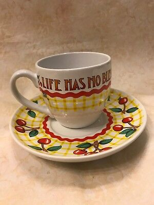 Mary Engelbreit Cup And Saucer Life Has No Blessing Like Good Friends Cherries