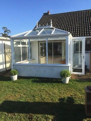 Used uPVC conservatory 3.2m x 2.6m. All double-glazed units and solid glass roof