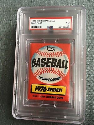 1976 Topps Baseball Unopened Wax Pack Locker Back PSA 7 Near Mint *20