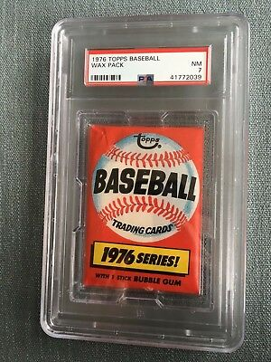 1976 Topps Baseball Unopened Wax Pack Pennant Back PSA 7 Near Mint *39
