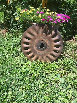 "Vintage Disc Blade Wheel 15"" Primitive Steampunk Old Farm, Wall Art"