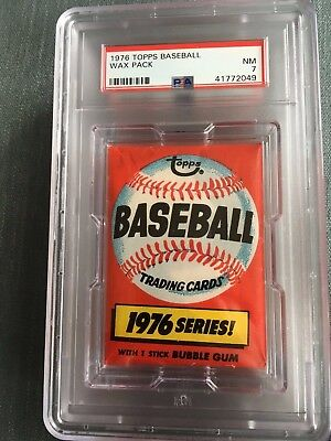 1976 Topps Baseball Unopened Wax Pack Sports Club Back PSA 7 Near Mint *49