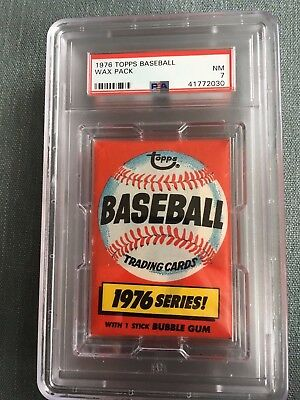 1976 Topps Baseball Unopened Wax Pack Sports Club Back PSA 7 Near Mint *30