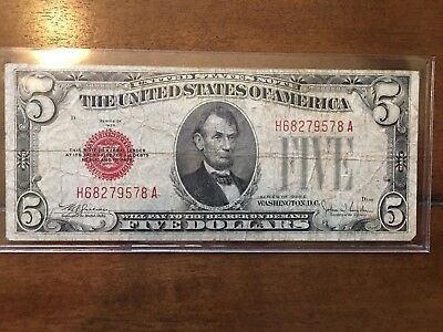 Lot Of 10 $5 Red Seals, Federal Reserve Notes, Silver Certificates - Star Notes