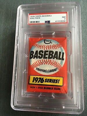 1976 Topps Baseball Unopened Wax Pack Locker Back PSA 7 Near Mint *32