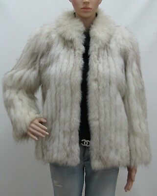 Real Blue White Grey Arctic Fox Fur Jacket Coat 4-6-8Uk/s Volpe
