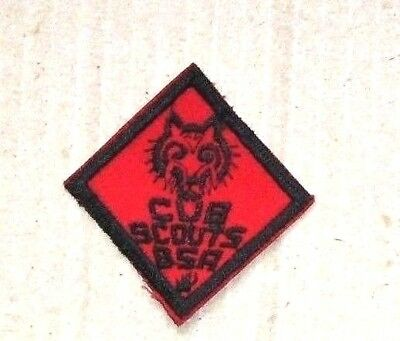 Vintage Cub Scouts Wolf Black / Red Badge / Patch - Boy Scouts of America (BSA)