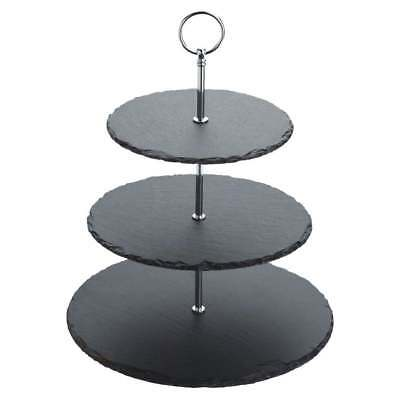 3 Layer Natural Slate Food Stand Tier Round Serving Display Platter Cakes Rack